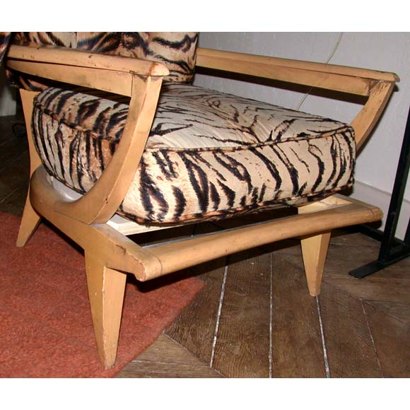 Pair Of Tiger Print Beech Wood Frame Chairs At 1stdibs