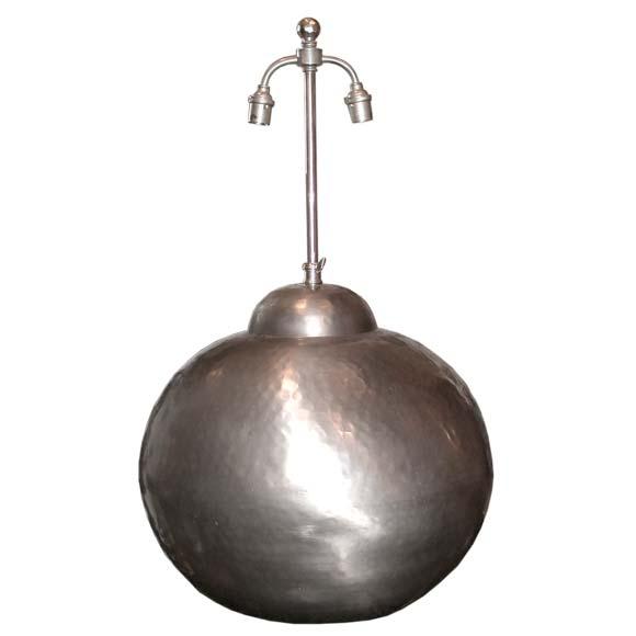 round hammered metal table lamp at 1stdibs. Black Bedroom Furniture Sets. Home Design Ideas