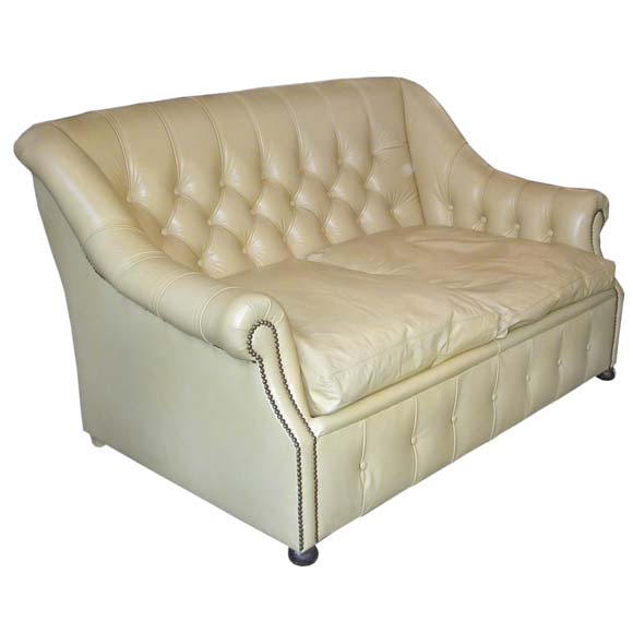 Small tufted pale yellow leather sofa bed at 1stdibs for Small tufted sofa
