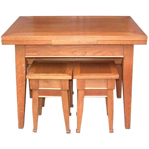 Small Table And Four Nesting Stools At 1stdibs