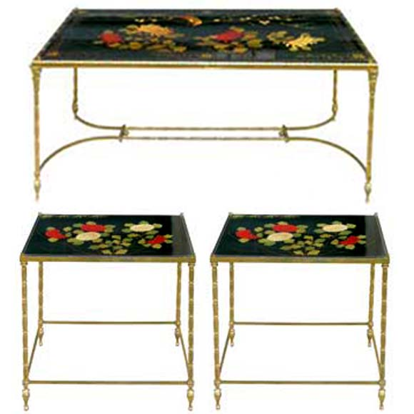 Black Lacquered And Chinoiserie Floral Decor Coffee Table