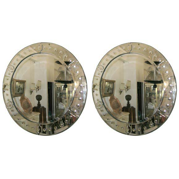 Pair of large round bubble lens frame mirror at 1stdibs for Large round mirrors for sale