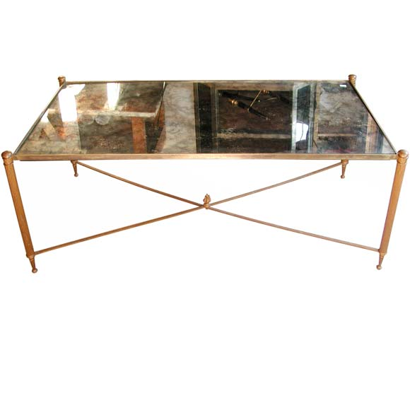 Cloudy Mirrored Coffee Table With Pull Out Extensions At 1stdibs