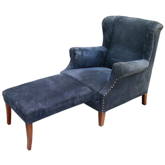 1940 S Navy Suede Foot Rest Incorporated Wing Back