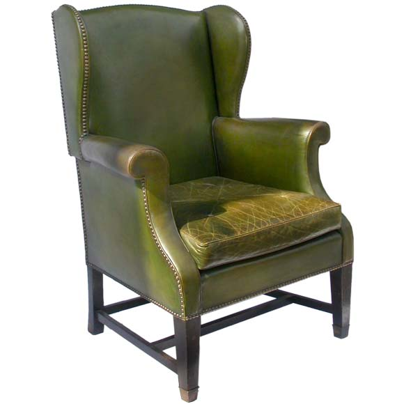 English Style Wing Back Moss Green Leather Armchair At 1stdibs