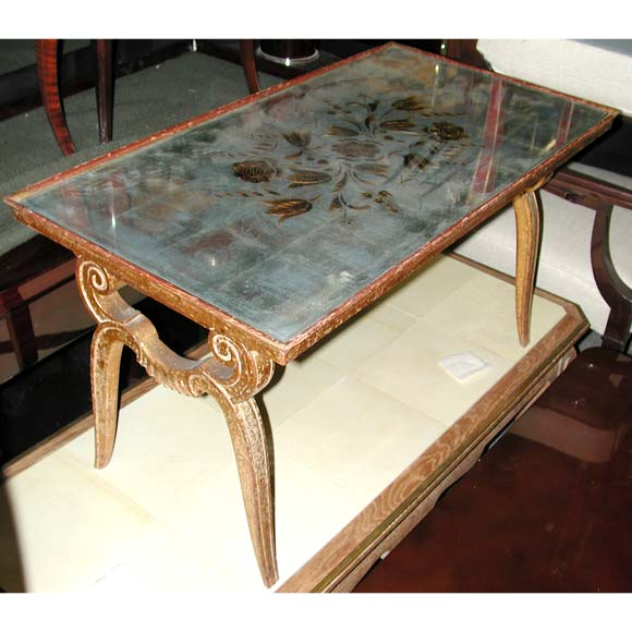 A carved gilt wood and eglomise mirrored coffee table for for Mirror and wood coffee table