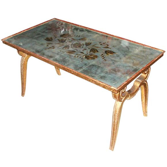 A carved gilt wood and eglomise mirrored coffee table for sale at 1stdibs Carved wood coffee table