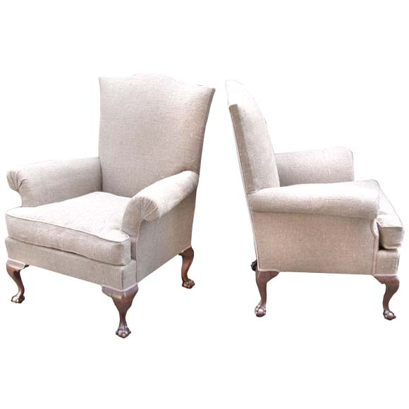 pair of queen anne style fauteuils at 1stdibs. Black Bedroom Furniture Sets. Home Design Ideas