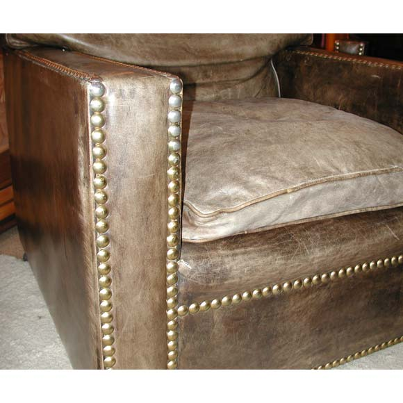 Studded distressed leather sofa and arm chairs at 1stdibs for Leather studded couch