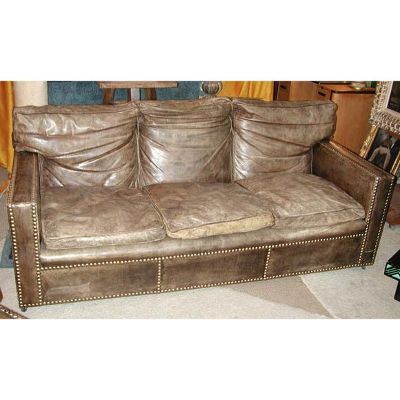Studded Distressed Leather Sofa And Arm Chairs At 1stdibs