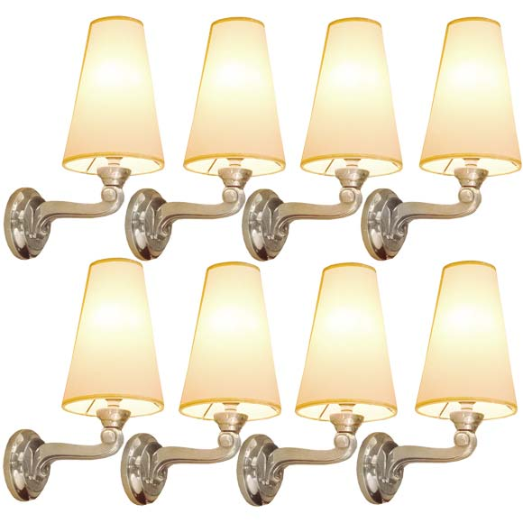 Set Of Eight Decorative Metal Wall Light Appliques At 1stdibs