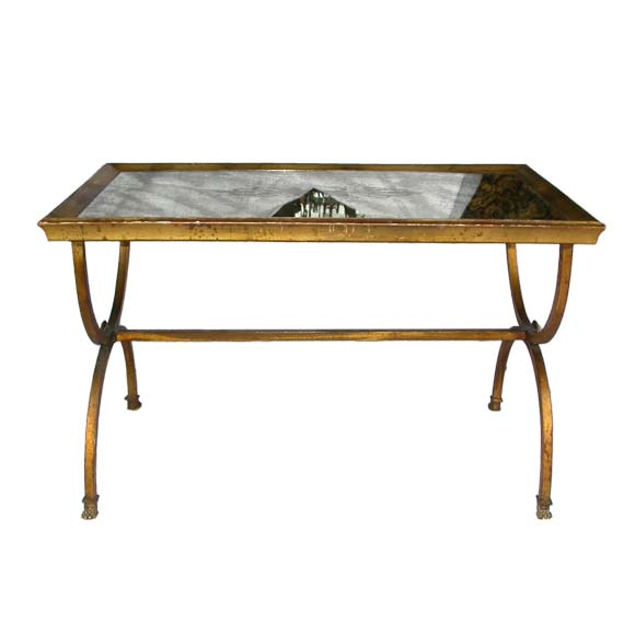 Gilt Eglomis Mirrored Top End Table Coffee Table At 1stdibs