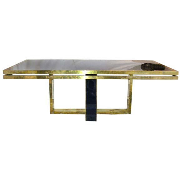 Brass and Blue Glass Rectangular Dining Table at 1stdibs