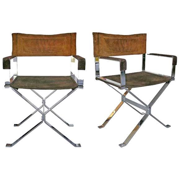 Pair of 70 39 s chrome x front foot chairs at 1stdibs for Outdoor furniture quad cities