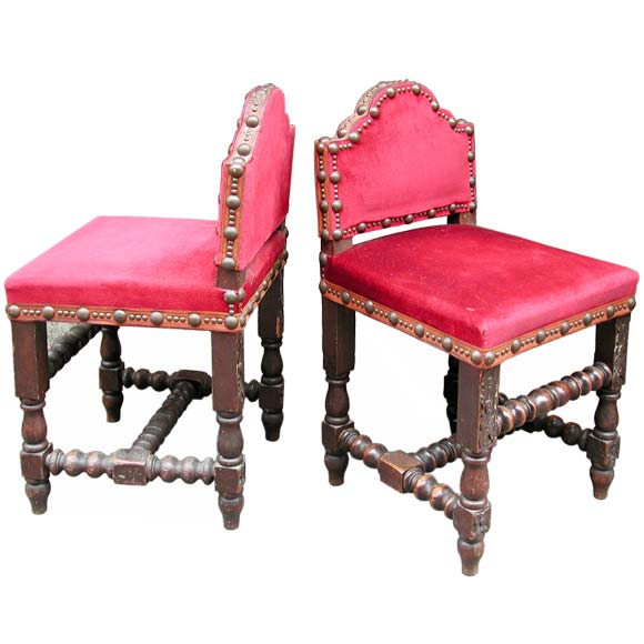 pair of low back rustic napoleon iii chairs at 1stdibs