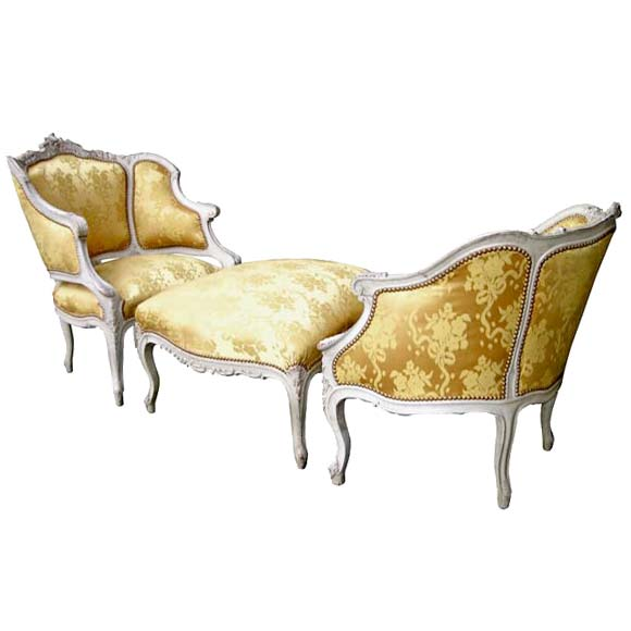 Louis xv style three piece duchesse bris e at 1stdibs - Chaise longue montreal ...