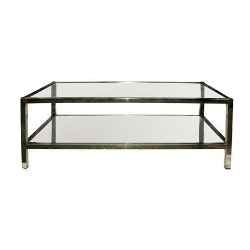 Two Tier Nickelled Metal Frame Coffee Table At 1stdibs