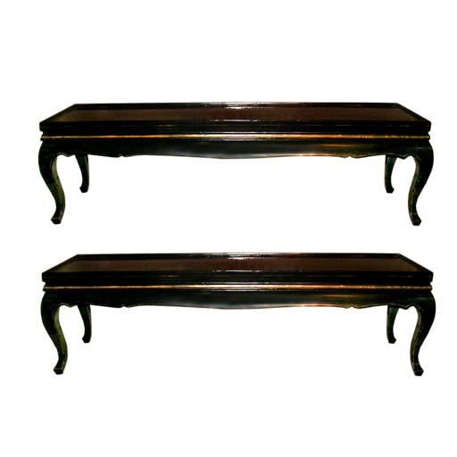 Pair Of Narrow Rectangular Lacquered Coffee Tables At 1stdibs
