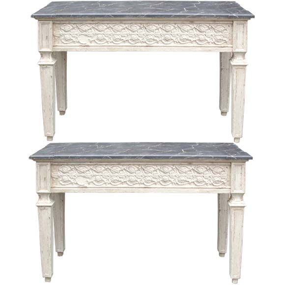 Pair of ornate skirt wall console tables at 1stdibs - Ornate hall table ...