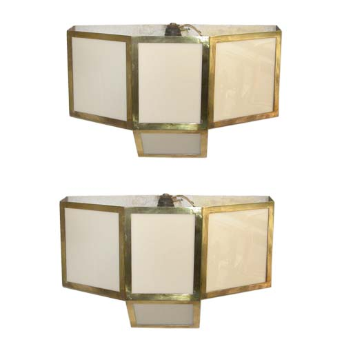 Pair Of Brass And Plexiglas Wall Light Appliques At 1stdibs