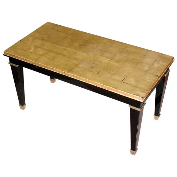 Black Lacquer And Gold Leaf Coffee Table At 1stdibs
