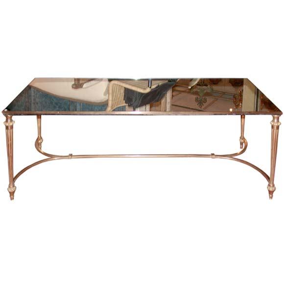 gold leaf bronze and mirrored rectangular coffee table at 1stdibs