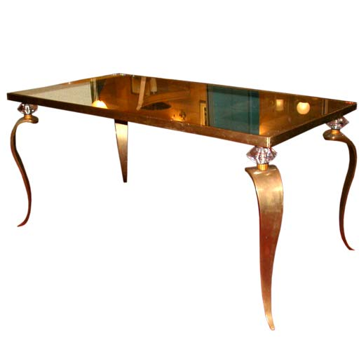 Coffee Table With Bronze Legs: Bronze Cabriole Crystal Crowned Leg Coffee Table At 1stdibs