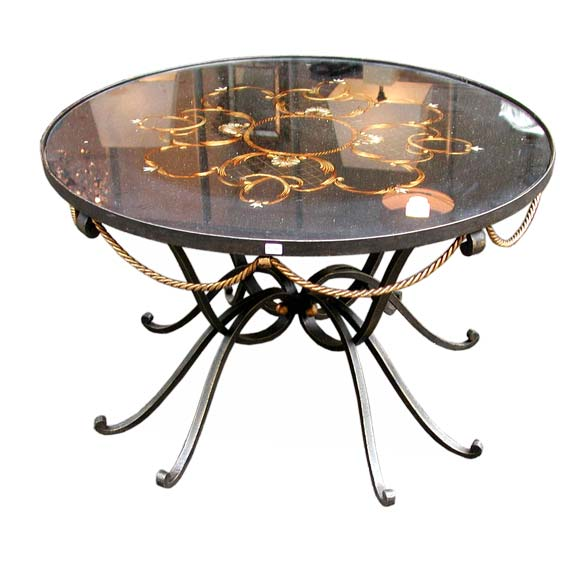 Round wrought iron gilt rope coffee table at 1stdibs for Round rope coffee table
