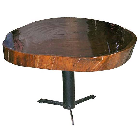 Varnished tree trunk coffee table at 1stdibs Tree trunk coffee table glass top