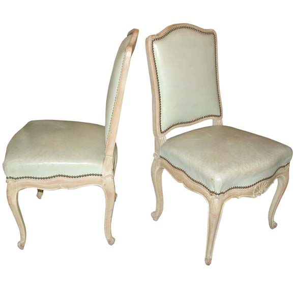 Set Of 10 Louis Xv Style Cream And Pale Green Leather