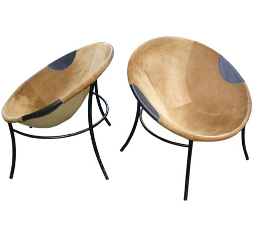 Pair Of 60s Cup Shaped Suede Chairs At 1stdibs