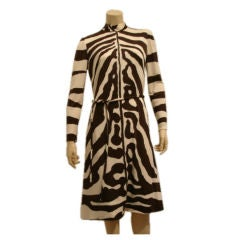 1960s Silk Jersey Zebra Print Shift