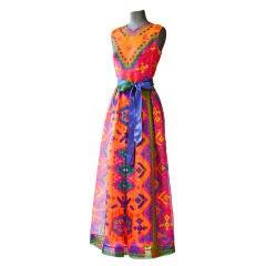 Lanvin silk organza Aztec inspired print long dress