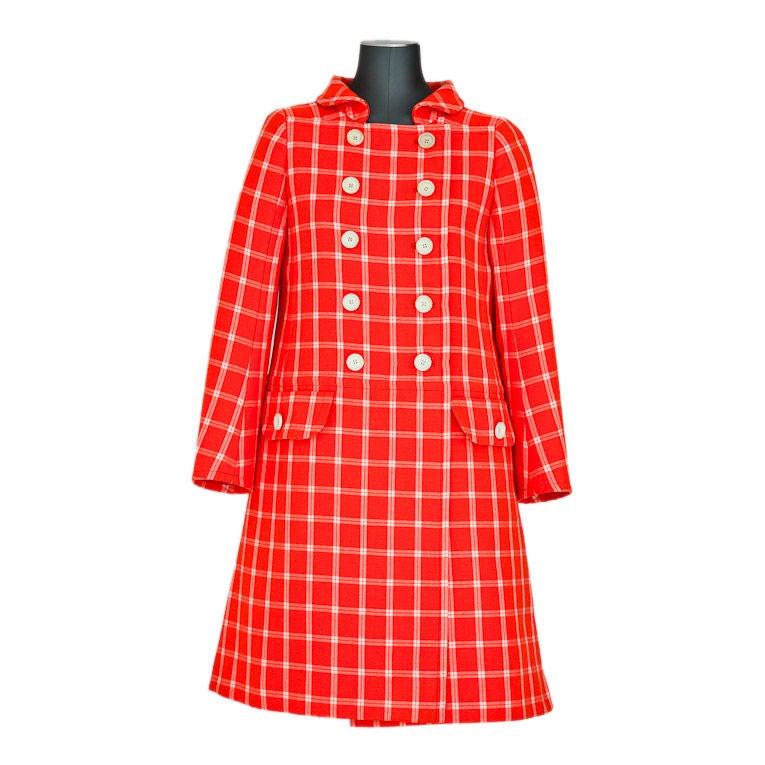 Ungaro Orange and white plaid wool double breated coat at ...