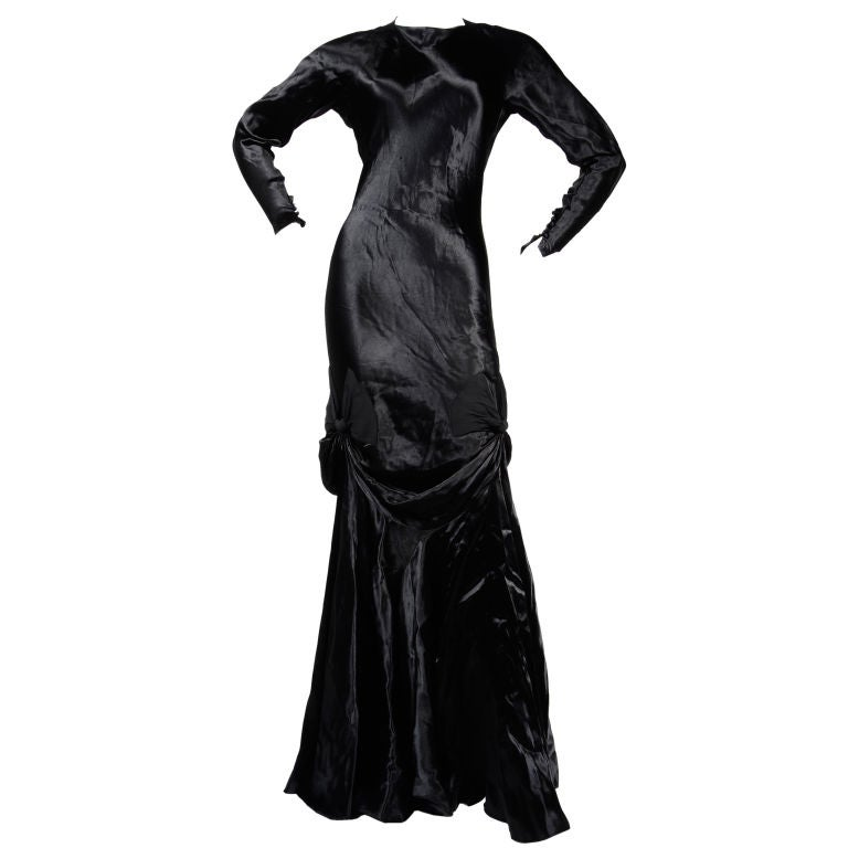 Madeleine Vionnet Black Back Crepe Satin Gown at 1stdibs