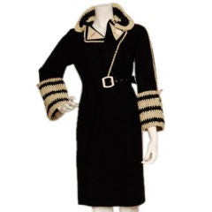1920's felt black & white coat