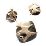 Sterling Modernist Pin With Matching Earrings by Ed Wiener