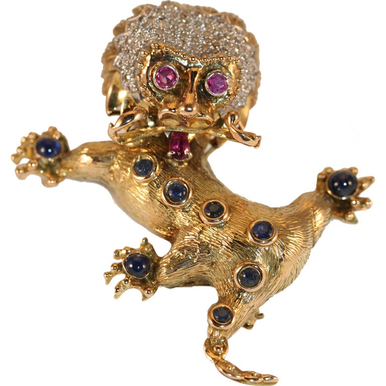 18K and Gemstone Chinese Foo Dog Brooch at 1stdibs