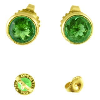Tiffany & Co 18K Yellow Gold & Emerald Studs For Sale