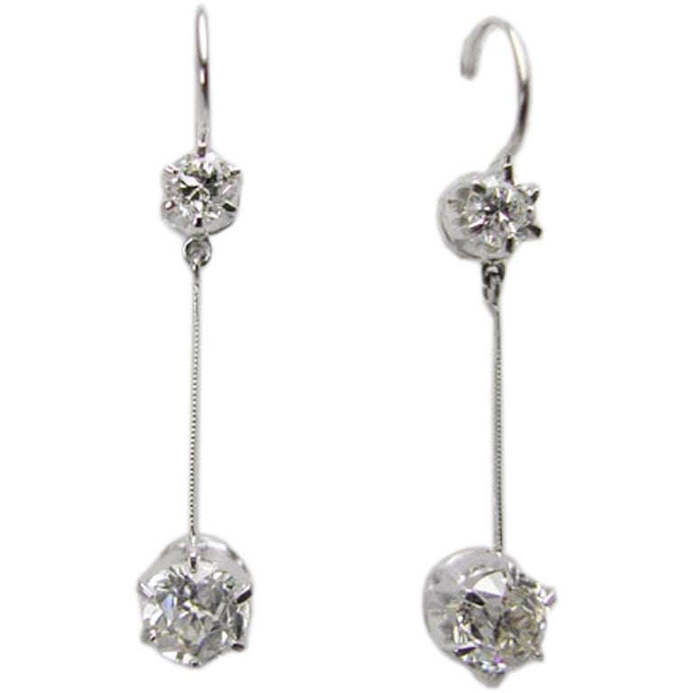 1920s Inspired Diamond Dangle Platinum Earrings 1.50 Carat Old European Cuts 1