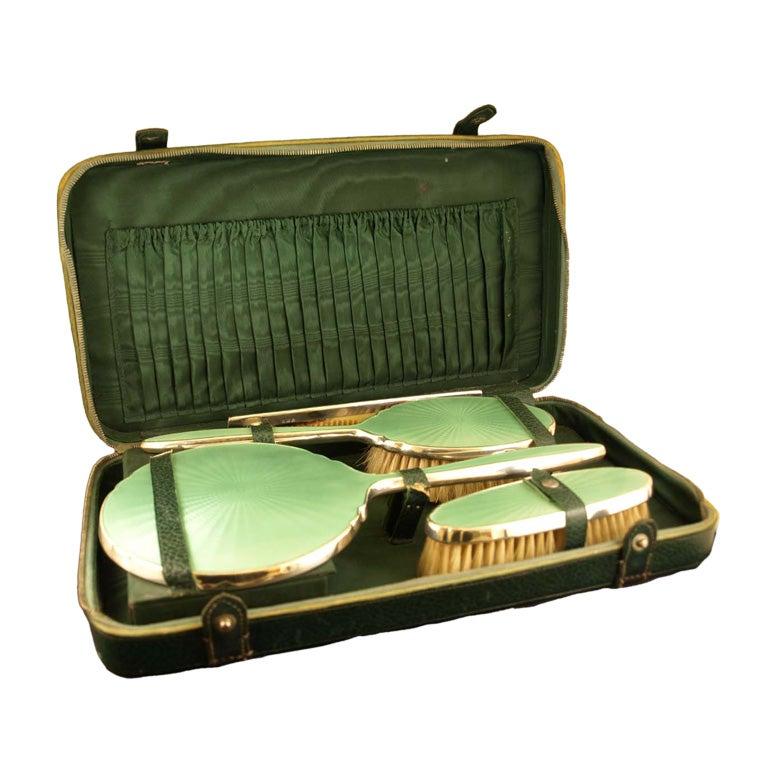 Sterling silver & Enamel Dresser Set For Sale