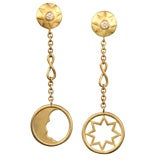 COSMOS EARRINGS Gold and Brillant cut DIamond