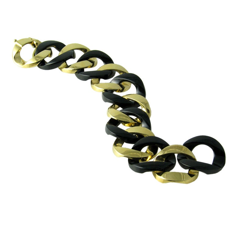 Verdura Gold and Black Jade Curb-Link Bracelet