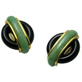 Cartier Cipullo Jade and Onyx Earrings 1972