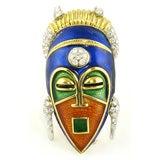 Enamel Tribal Mask Brooch
