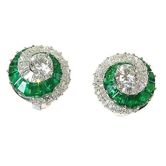 Cartier Emerald And Diamond Swirl Earrings For
