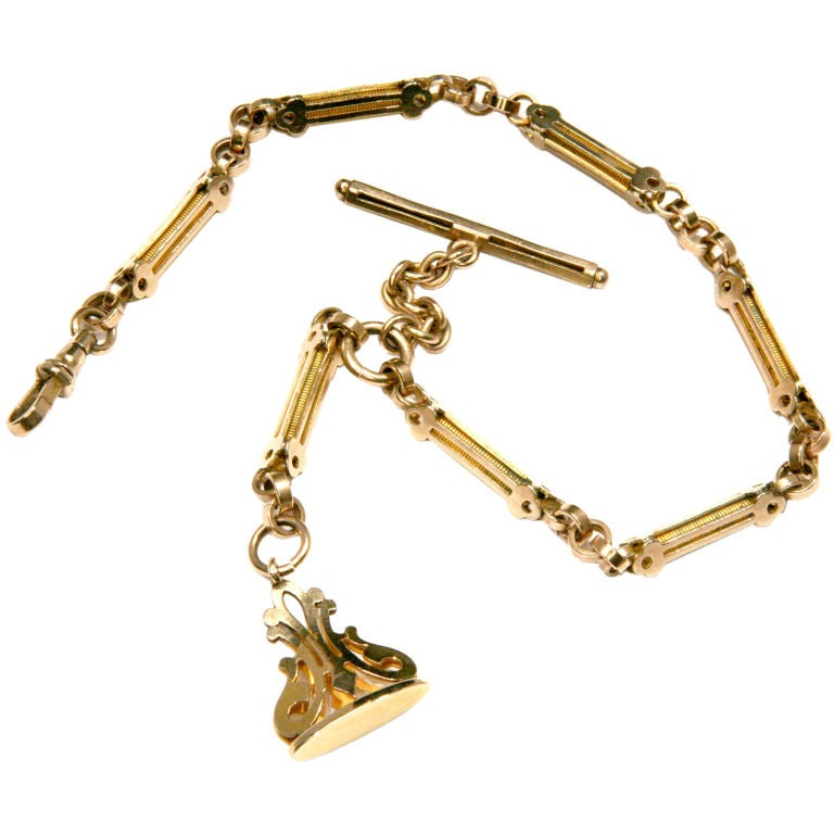 Antique Gold Watch Fob Chain