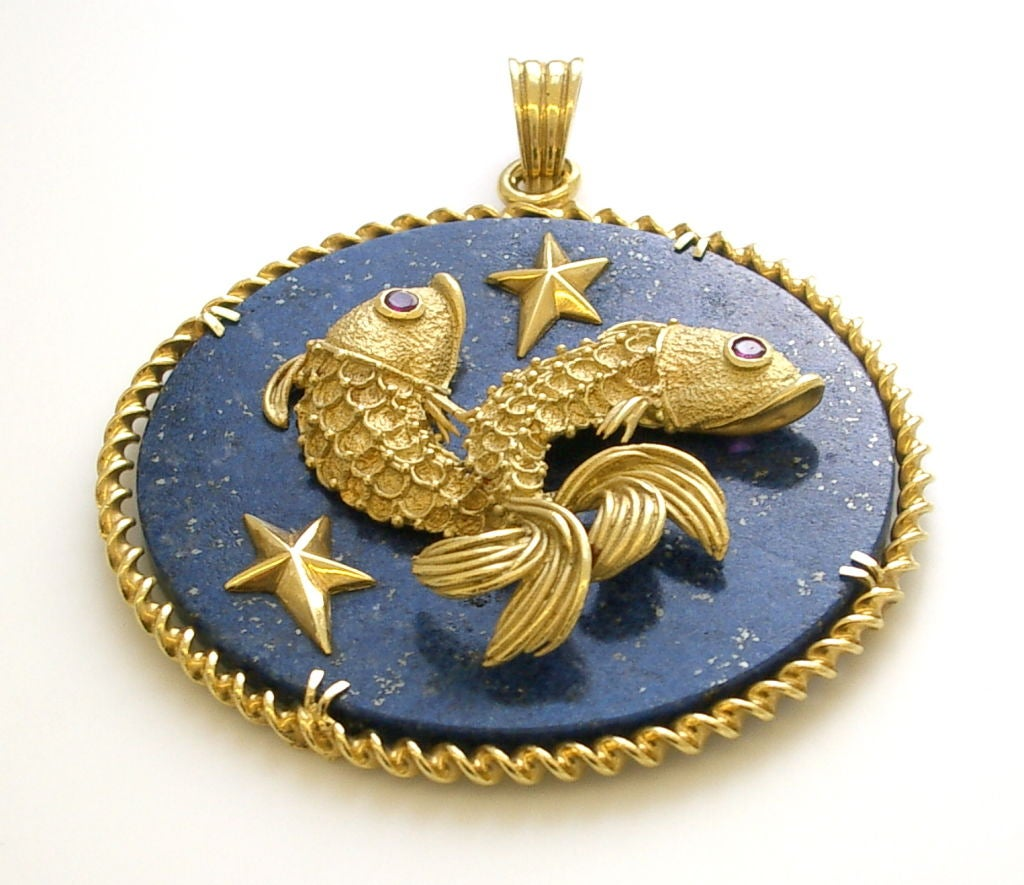 gold and lapis lazuli pisces pendant at 1stdibs