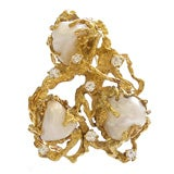 Gold, Pearl and Diamond Pendant/ Brooch by Arthur King c1970