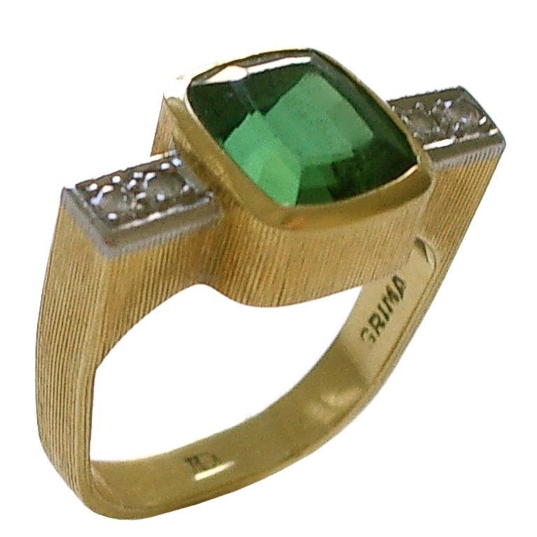 Andrew Grima Tourmaline Diamond Gold Ring 1